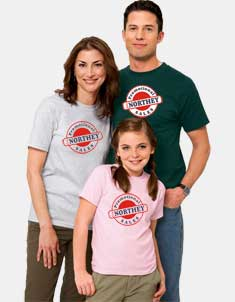 Photo of a man, woman, and child wearing t-shirts that could be branded with your logo.